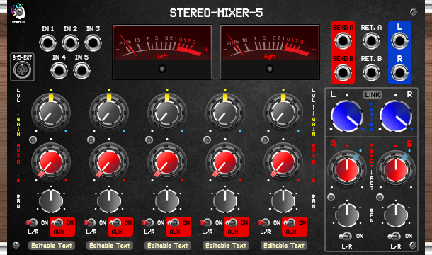 Nrgzr78_STEREO-MIXER-5 [Gain, Level, Pan, Mute, Send, Return]